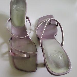 VINTAGE Womans lilac leather sandal